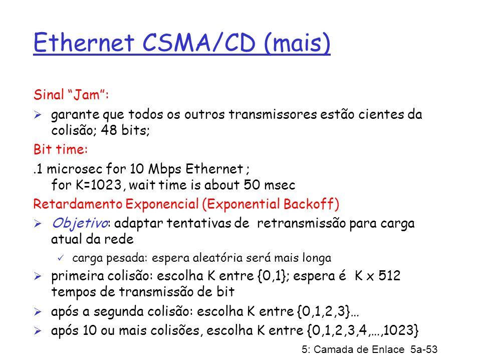 5: Camada de Enlace 5a-53 Ethernet CSMA/CD (mais) Sinal Jam: garante que todos os outros transmissores estão cientes da colisão; 48 bits; Bit time:.1