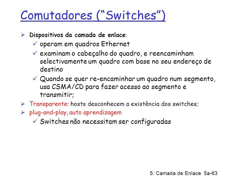 5: Camada de Enlace 5a-63 Comutadores (Switches) Dispositivos da camada de enlace: operam em quadros Ethernet examinam o cabeçalho do quadro, e reenca