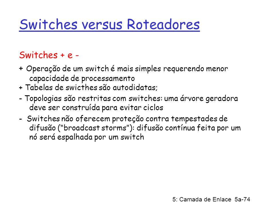 5: Camada de Enlace 5a-74 Switches versus Roteadores Switches + e - + Operação de um switch é mais simples requerendo menor capacidade de processament