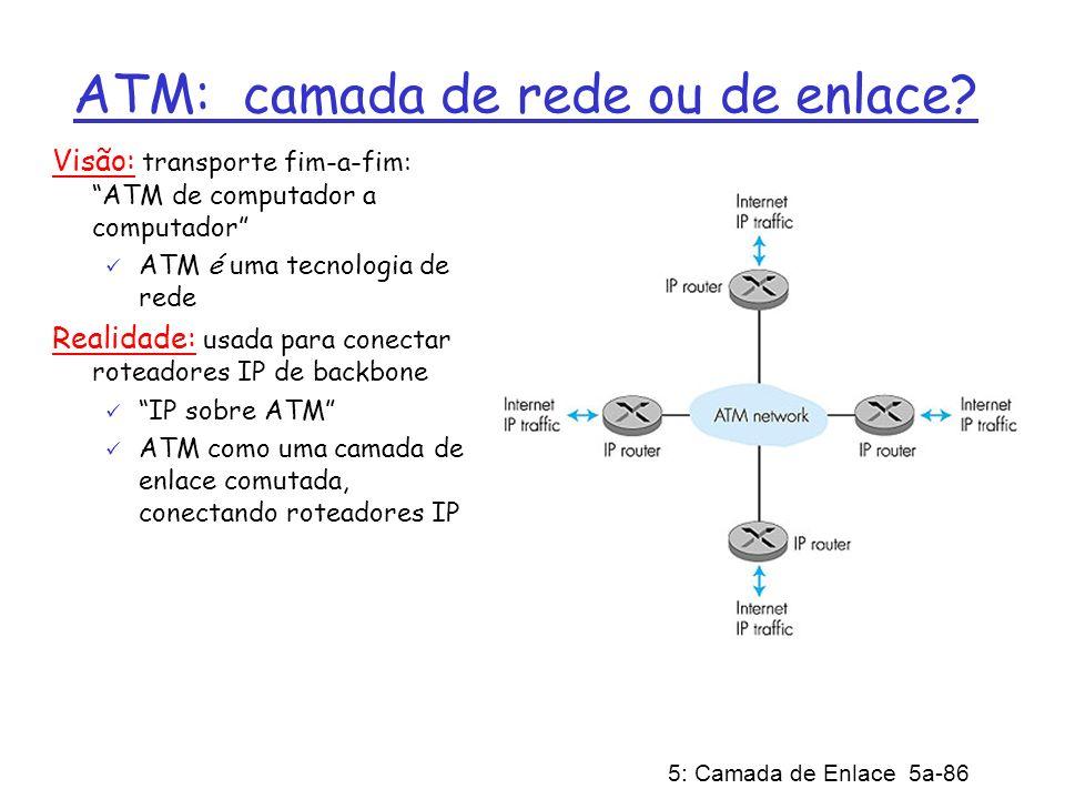 5: Camada de Enlace 5a-86 ATM: camada de rede ou de enlace? Visão: transporte fim-a-fim: ATM de computador a computador ATM é uma tecnologia de rede R
