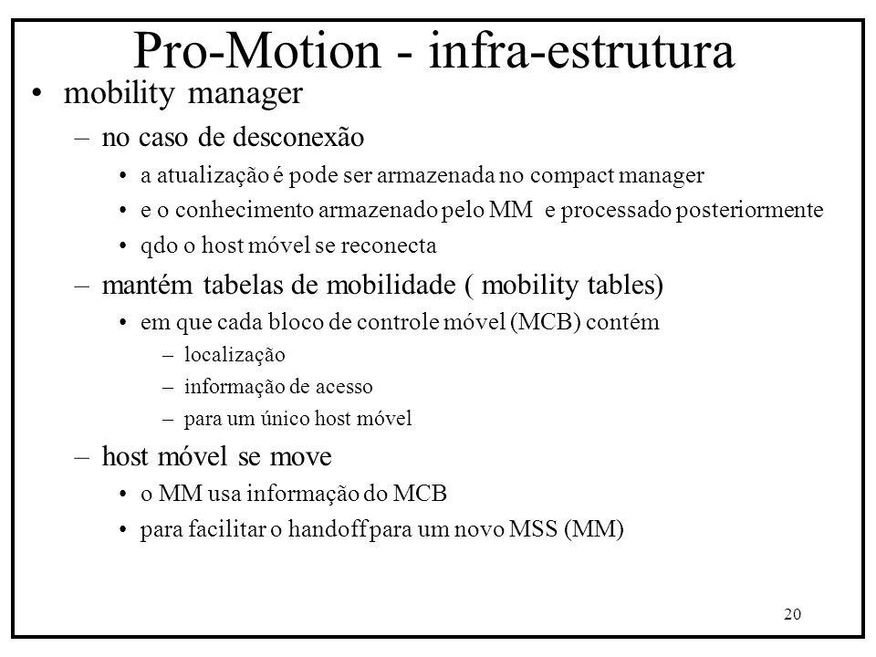 20 Pro-Motion - infra-estrutura mobility manager –no caso de desconexão a atualização é pode ser armazenada no compact manager e o conhecimento armazenado pelo MM e processado posteriormente qdo o host móvel se reconecta –mantém tabelas de mobilidade ( mobility tables) em que cada bloco de controle móvel (MCB) contém –localização –informação de acesso –para um único host móvel –host móvel se move o MM usa informação do MCB para facilitar o handoff para um novo MSS (MM)