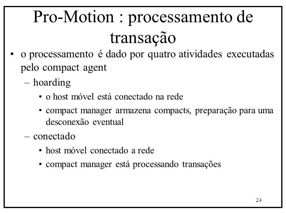 24 Pro-Motion : processamento de transação o processamento é dado por quatro atividades executadas pelo compact agent –hoarding o host móvel está conectado na rede compact manager armazena compacts, preparação para uma desconexão eventual –conectado host móvel conectado a rede compact manager está processando transações