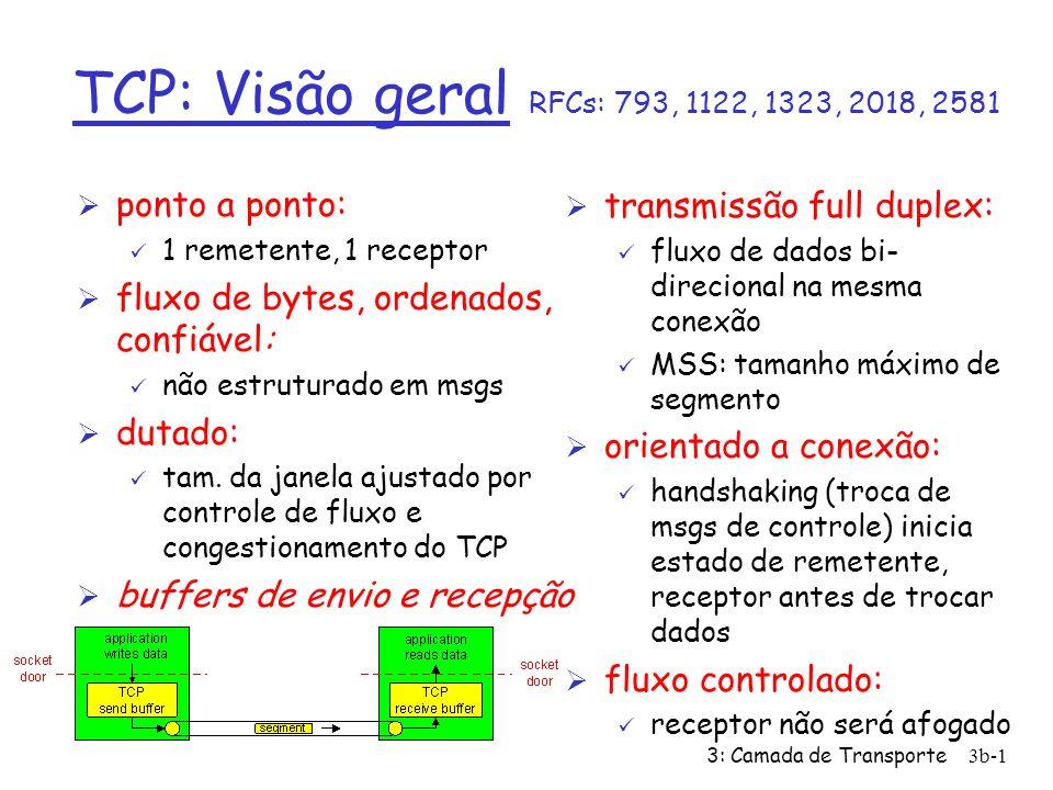 3: Camada de Transporte3b-12 TCP: Gerenciamento de Conexões (cont.) Encerrando uma conexão: cliente fecha soquete: clientSocket.close(); Passo 1: sistema cliente envia segmento de controle FIN ao servidor Passo 2: servidor recebe FIN, responde com ACK.