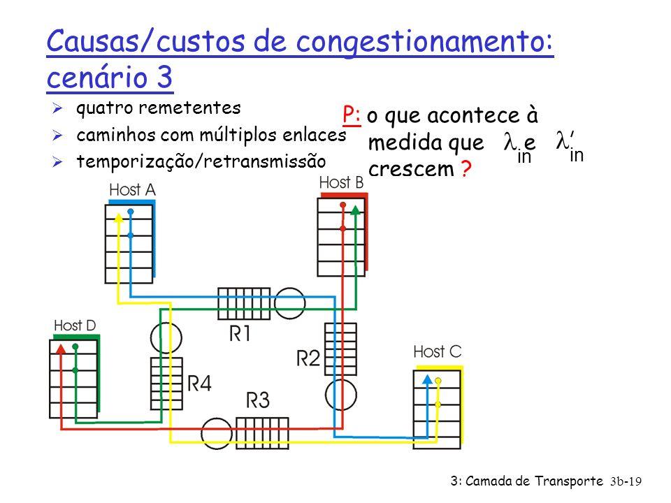 3: Camada de Transporte3b-19 Causas/custos de congestionamento: cenário 3 Ø quatro remetentes Ø caminhos com múltiplos enlaces Ø temporização/retransm