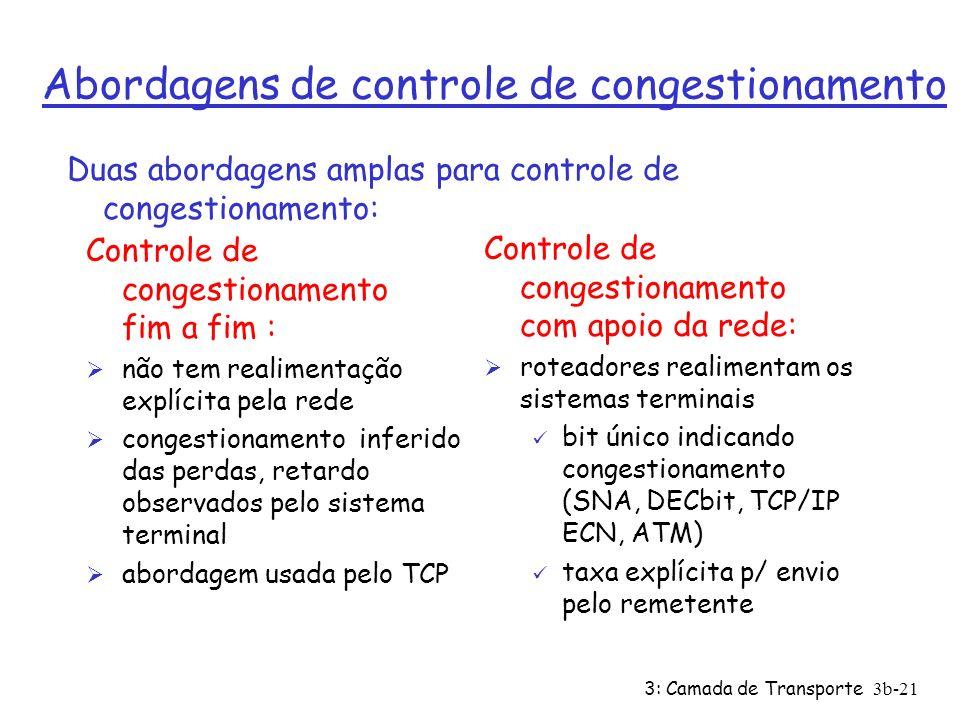 3: Camada de Transporte3b-21 Abordagens de controle de congestionamento Controle de congestionamento fim a fim : Ø não tem realimentação explícita pel