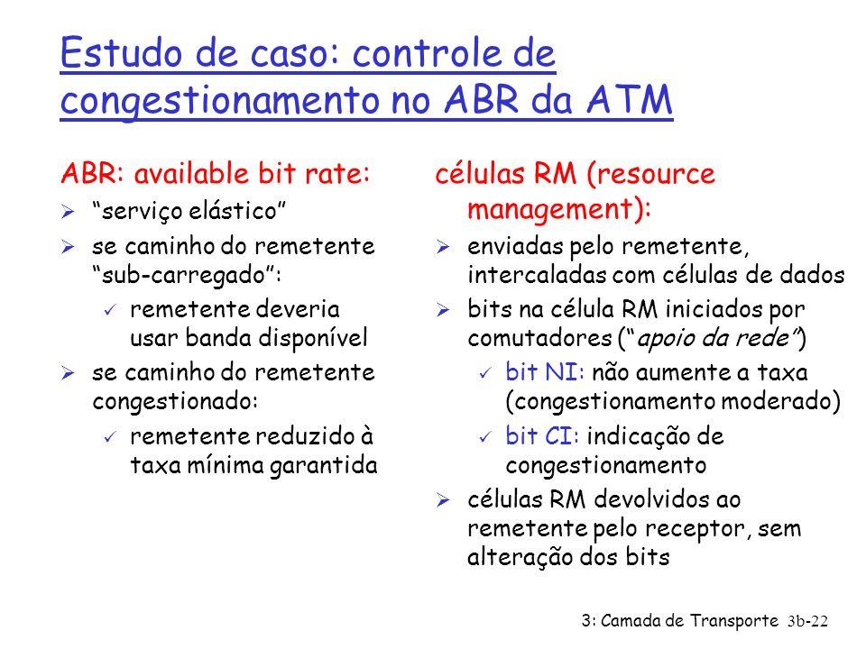 3: Camada de Transporte3b-22 Estudo de caso: controle de congestionamento no ABR da ATM ABR: available bit rate: Ø serviço elástico Ø se caminho do re