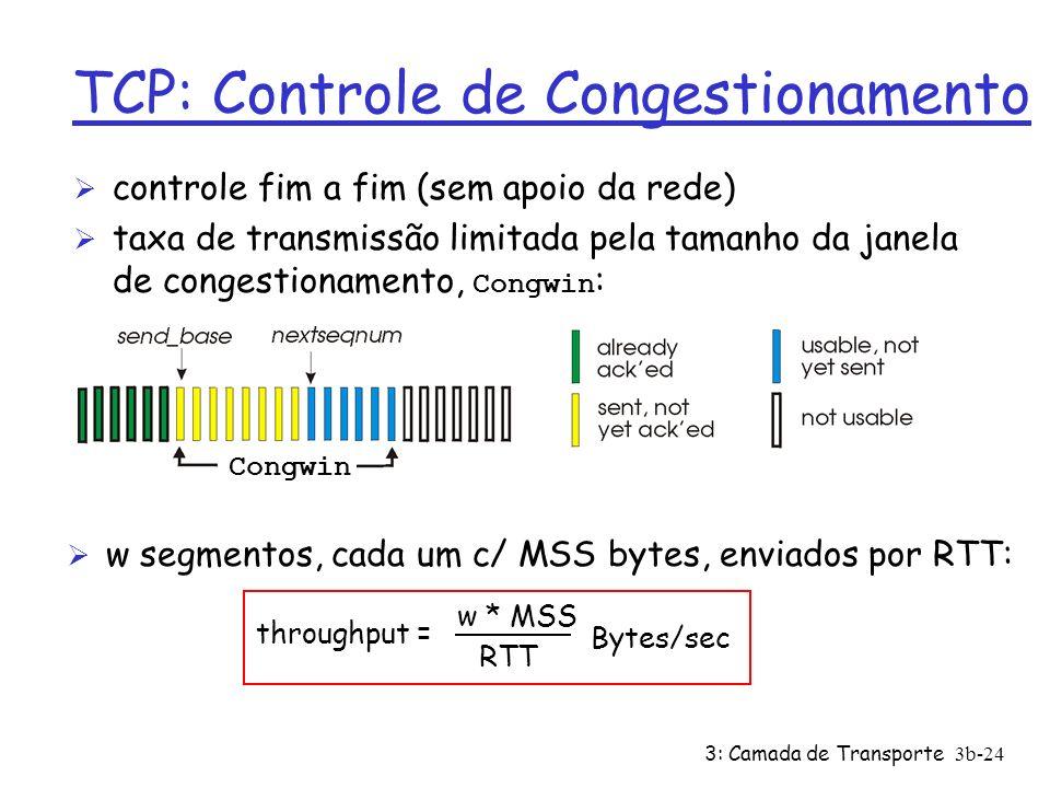 3: Camada de Transporte3b-24 TCP: Controle de Congestionamento Ø controle fim a fim (sem apoio da rede) taxa de transmissão limitada pela tamanho da j