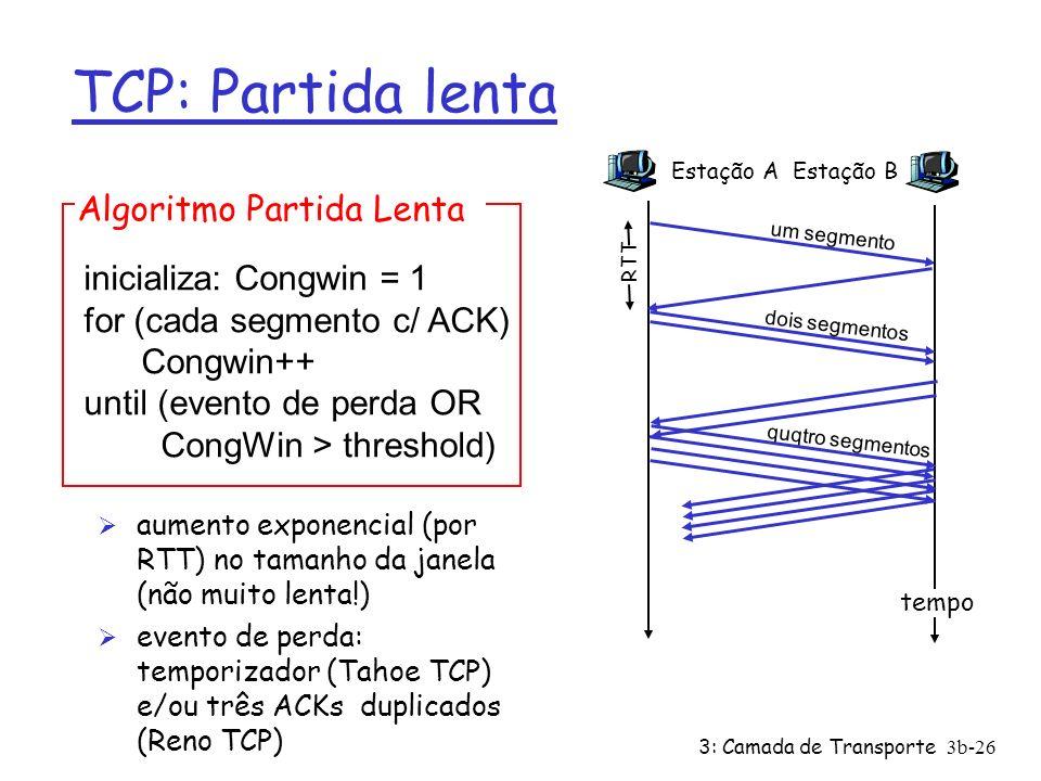 3: Camada de Transporte3b-26 TCP: Partida lenta Ø aumento exponencial (por RTT) no tamanho da janela (não muito lenta!) Ø evento de perda: temporizado