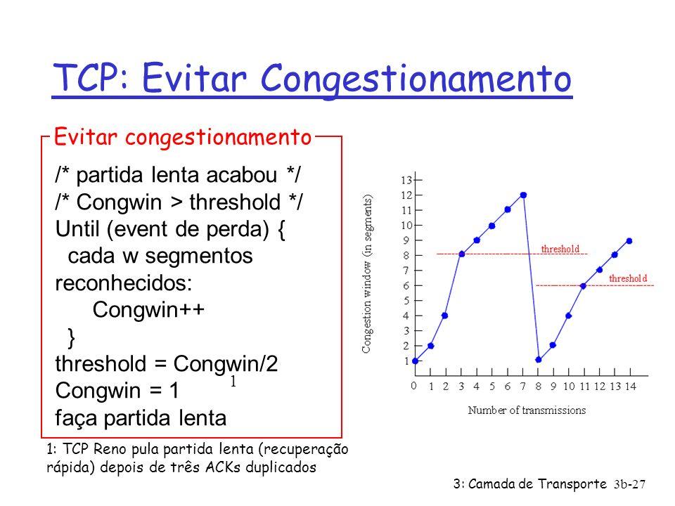 3: Camada de Transporte3b-27 TCP: Evitar Congestionamento /* partida lenta acabou */ /* Congwin > threshold */ Until (event de perda) { cada w segment
