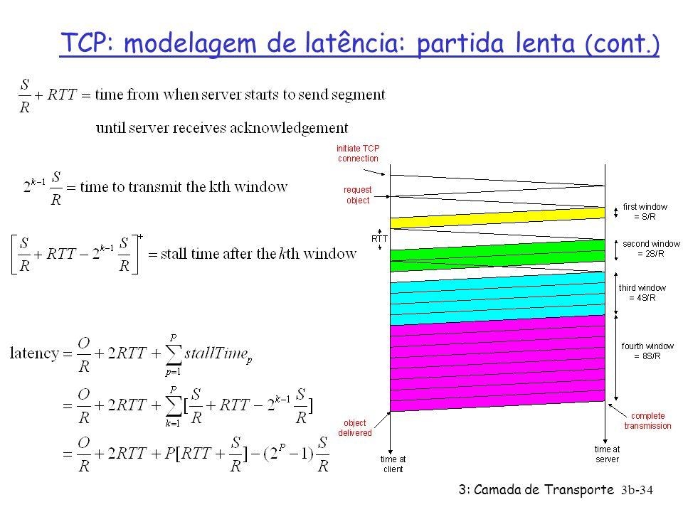 3: Camada de Transporte3b-34 TCP: modelagem de latência: partida lenta ( cont.)