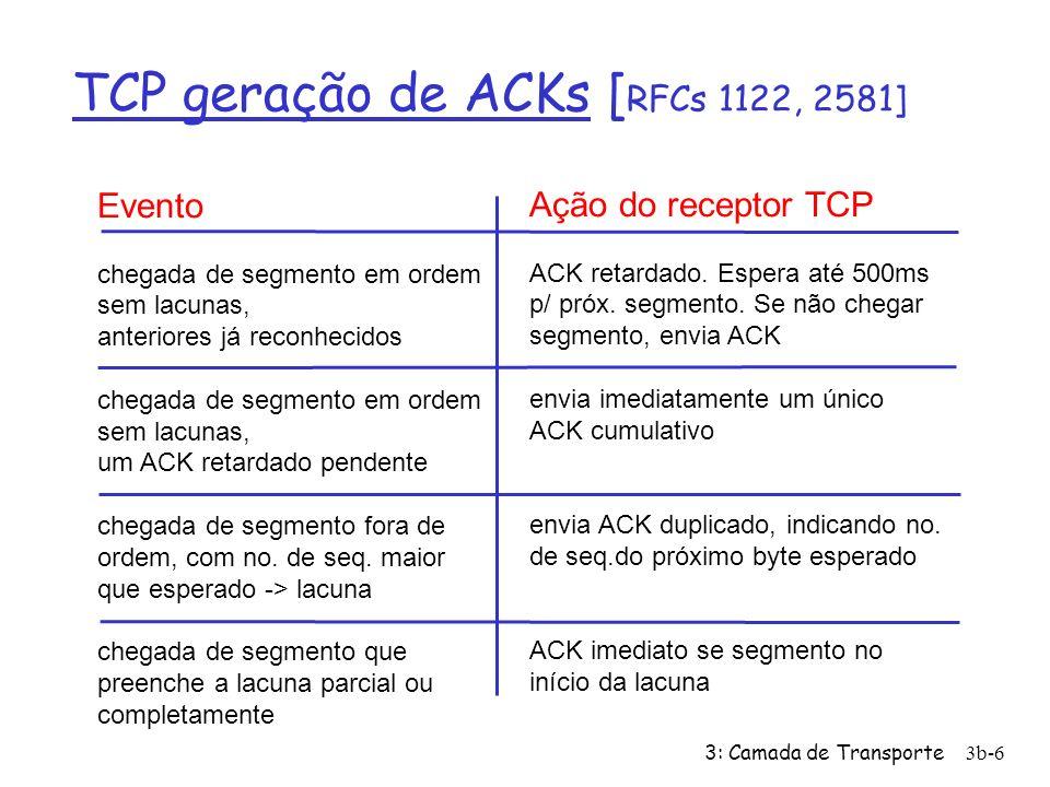 3: Camada de Transporte3b-7 TCP: cenários de retransmissão Estação A Seq=92, 8 bytes de dados ACK=100 perda temporização tempo cenário do ACK perdido Estação B X Seq=92, 8 bytes de dados ACK=100 Host A Seq=100, 20 bytes de dados ACK=100 Temp.p/ Seq=92 temporização prematura, ACKs cumulativos Host B Seq=92, 8 bytes de dados ACK=120 Seq=92, 8 bytes de dados Temp.