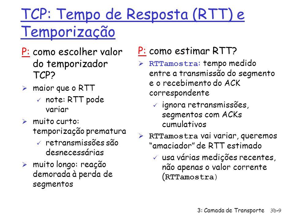 3: Camada de Transporte3b-10 TCP: Tempo de Resposta (RTT) e Temporização RTT_estimado = (1-x)* RTT_estimado + x*RTT_amostra Ø média corrente exponencialmente ponderada Ø influência de cada amostra diminui exponencialmente com o tempo Ø valor típico de x: 0.1 Escolhendo o intervalo de temporização RTT_estimado mais uma margem de segurança variação grande em RTT_estimado -> margem de segurança maior Temporização = RTT_estimado + 4*Desvio Desvio = (1-x)* Desvio + x*|RTT_amostra - RTT_estimado|