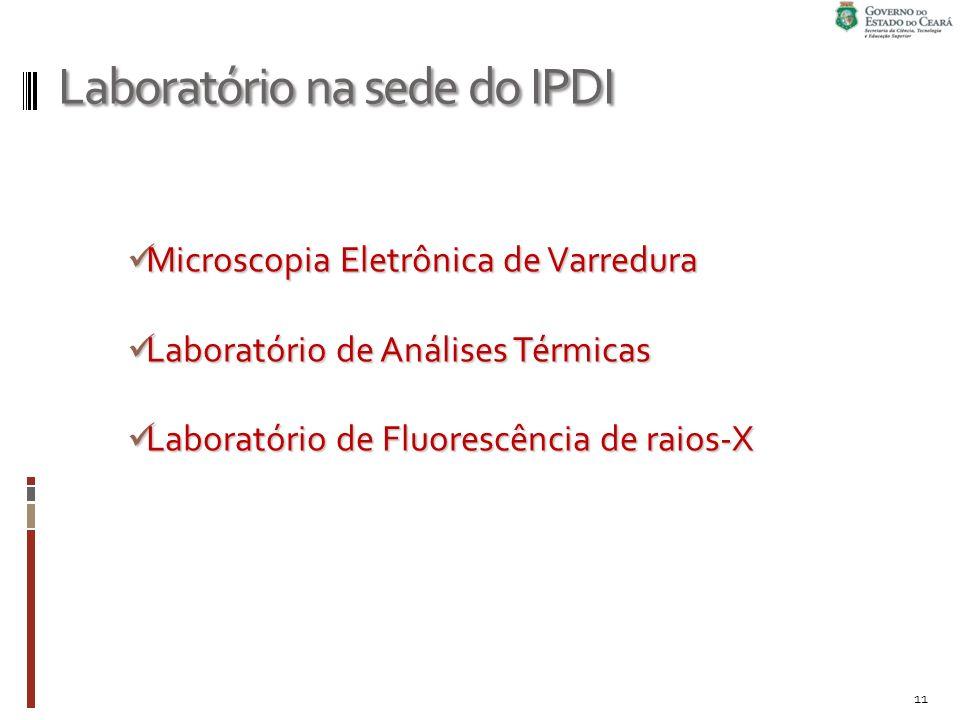 Laboratório na sede do IPDI Microscopia Eletrônica de Varredura Microscopia Eletrônica de Varredura Laboratório de Análises Térmicas Laboratório de Análises Térmicas Laboratório de Fluorescência de raios-X Laboratório de Fluorescência de raios-X 11