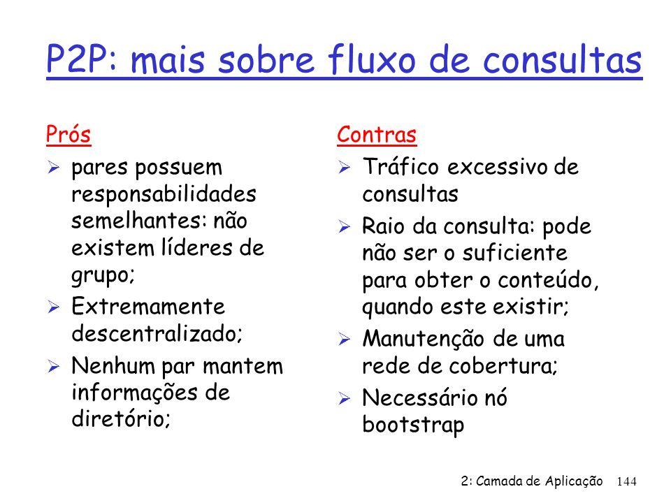 2: Camada de Aplicação 144 P2P: mais sobre fluxo de consultas Prós Ø pares possuem responsabilidades semelhantes: não existem líderes de grupo; Ø Extr