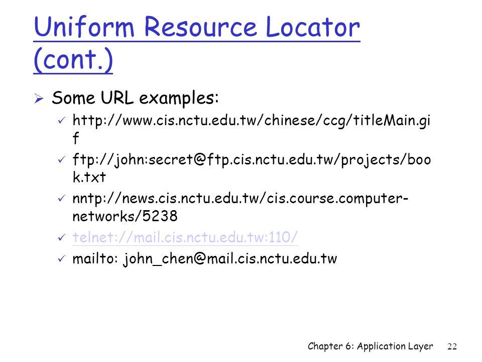 22 Uniform Resource Locator (cont.) Ø Some URL examples: ü http://www.cis.nctu.edu.tw/chinese/ccg/titleMain.gi f ü ftp://john:secret@ftp.cis.nctu.edu.