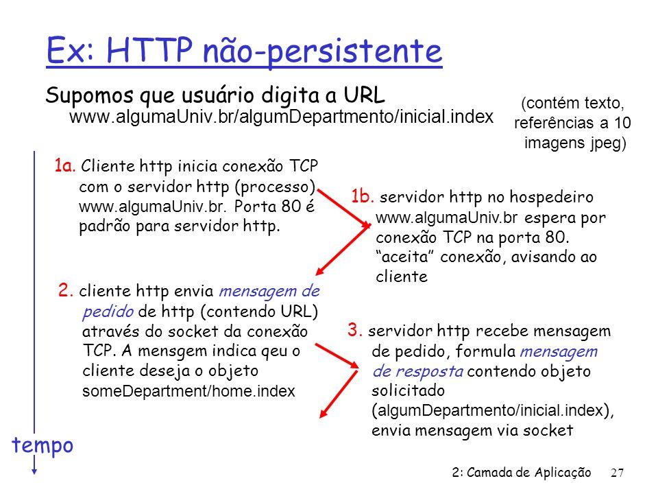 2: Camada de Aplicação 27 Ex: HTTP não-persistente Supomos que usuário digita a URL www.algumaUniv.br/algumDepartmento/inicial.index 1a. Cliente http