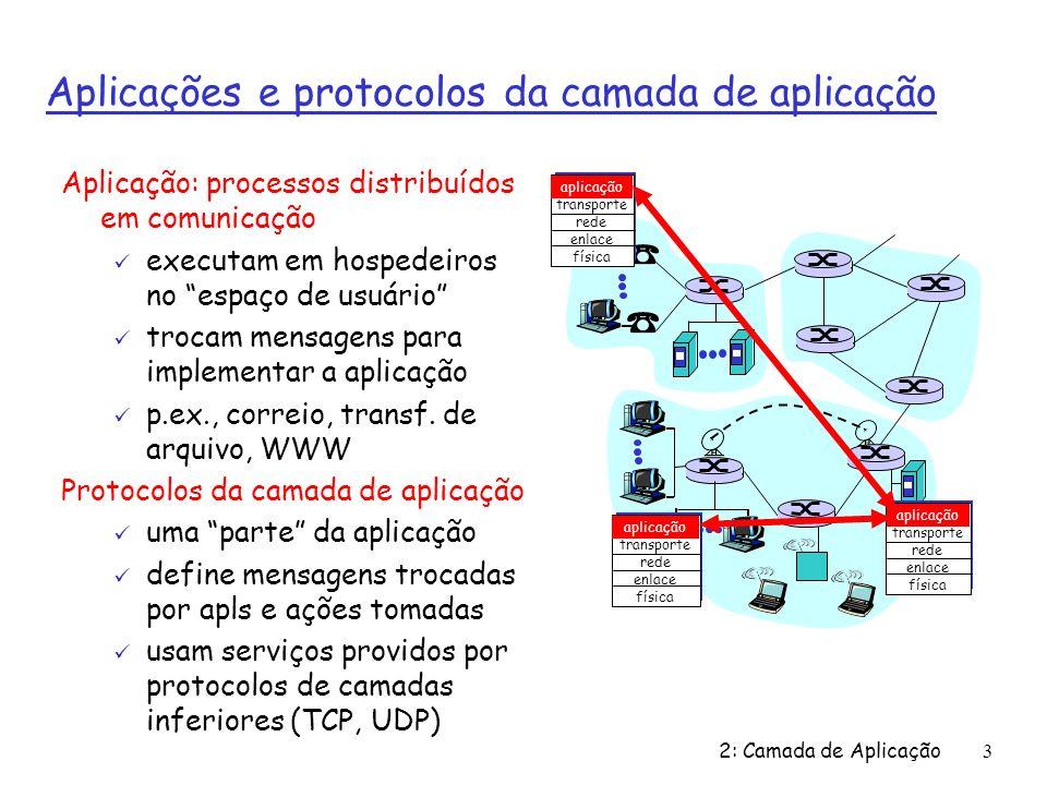 2: Camada de Aplicação 4 Camada de aplicação define: Ø Tipo das mensagens trocadas: ex, mensagens de requisição & resposta Ø Sintaxe das mensagens: quais os campos de uma mensagem & como estes são delineados; Ø Semântica dos campos: qual o significado das informações nos campos; Ø Regras: definem quando e como os processos enviam & respondem mensagens; Protocolos de domínio público: Ø Definidos por RFCs Ø Garante interoperabilidade Ø ex, HTTP, SMTP Protocolos proprietários: Ø ex, KaZaA
