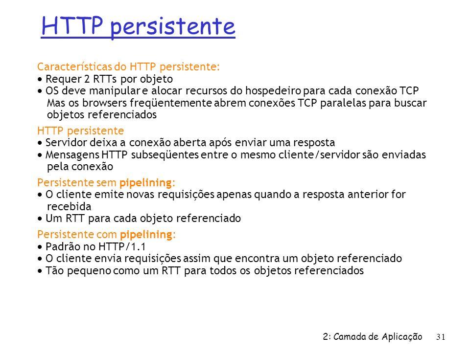 2: Camada de Aplicação 31 Características do HTTP persistente: Requer 2 RTTs por objeto OS deve manipular e alocar recursos do hospedeiro para cada co