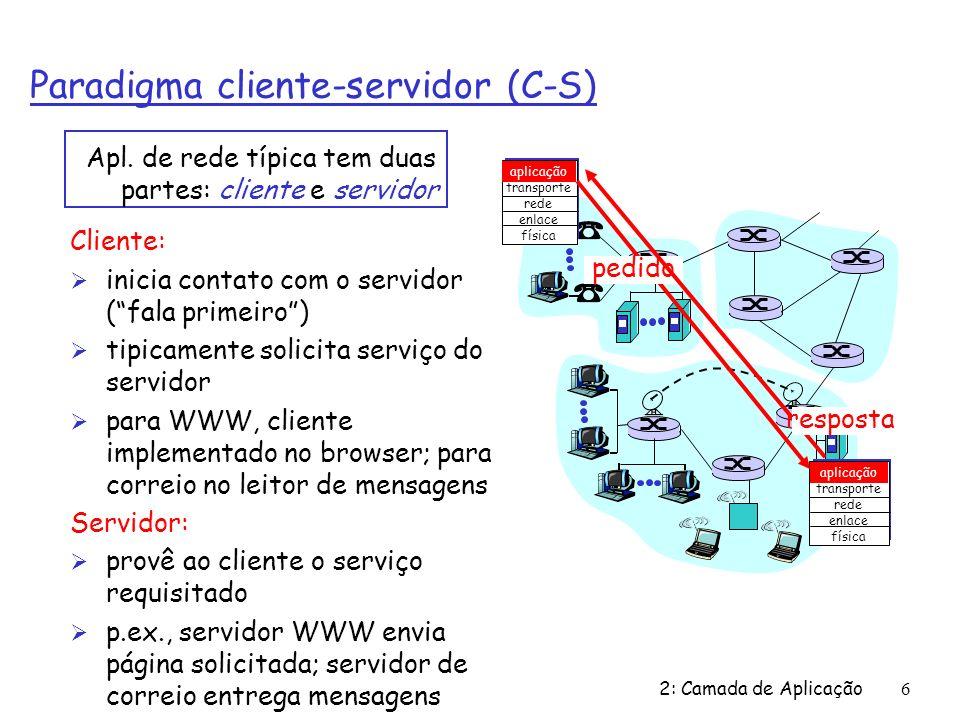 2: Camada de Aplicação 97 Exemplo de aplicação cliente-servidor: 1) Cliente lê linha da entrada-padrão do sistema (inFromUser stream), envia para o servidor via socket (outToServer stream) 2) Servidor lê linha do socket 3) Servidor converte linha para letras maiúsculas e envia de volta ao cliente 4) Cliente lê a linha modificada através do (inFromServer stream) Programação de sockets com TCP