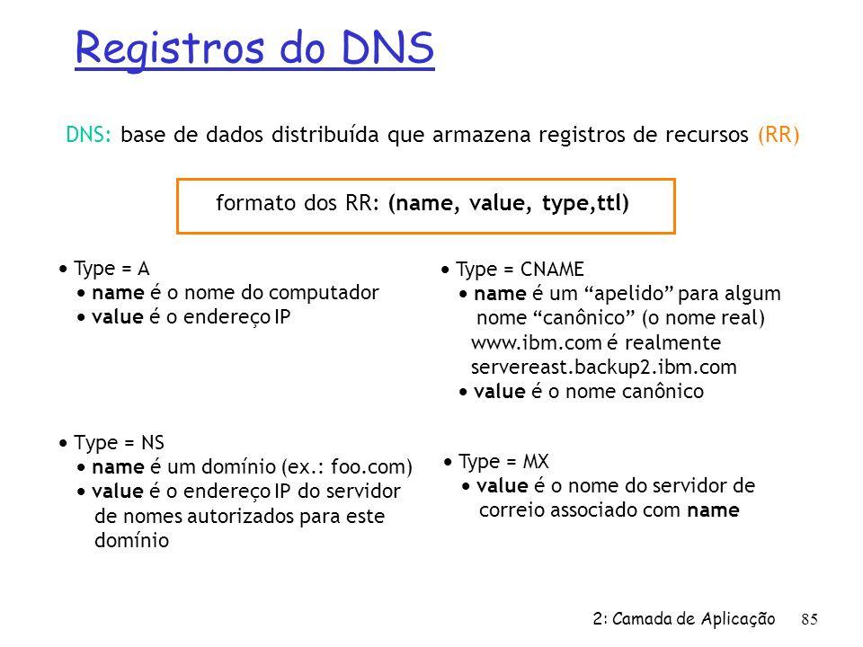 2: Camada de Aplicação 85 Registros do DNS DNS: base de dados distribuída que armazena registros de recursos (RR) Type = NS name é um domínio (ex.: fo