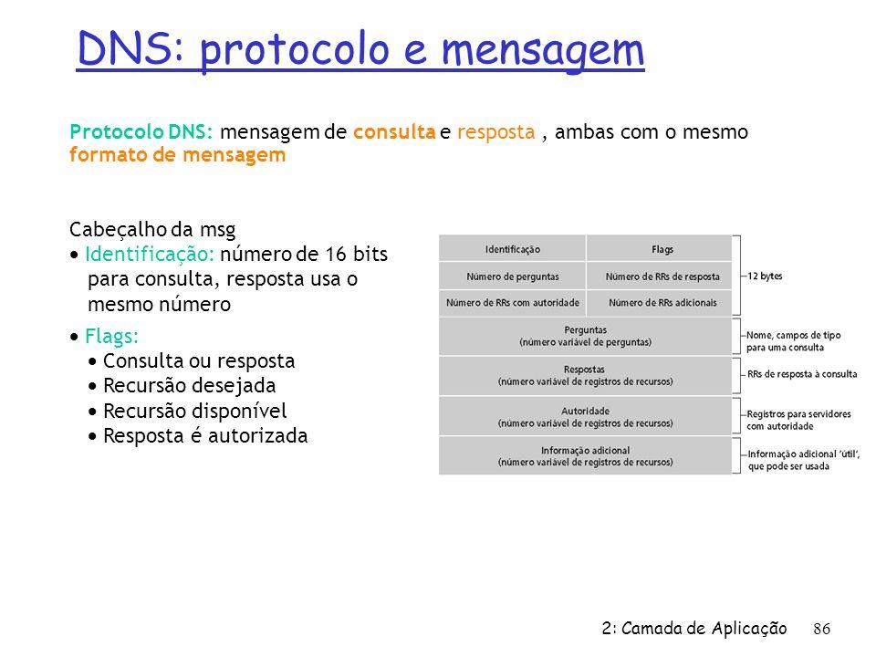 2: Camada de Aplicação 86 DNS: protocolo e mensagem Protocolo DNS: mensagem de consulta e resposta, ambas com o mesmo formato de mensagem Cabeçalho da