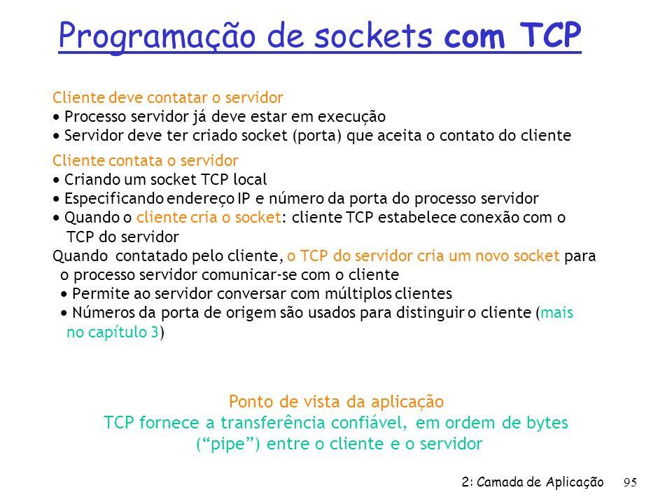 2: Camada de Aplicação 95 Cliente deve contatar o servidor Processo servidor já deve estar em execução Servidor deve ter criado socket (porta) que ace