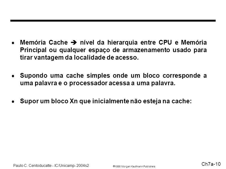 1998 Morgan Kaufmann Publishers Paulo C. Centoducatte - IC/Unicamp- 2004s2 Ch7a-10 Memória Cache nível da hierarquia entre CPU e Memória Principal ou