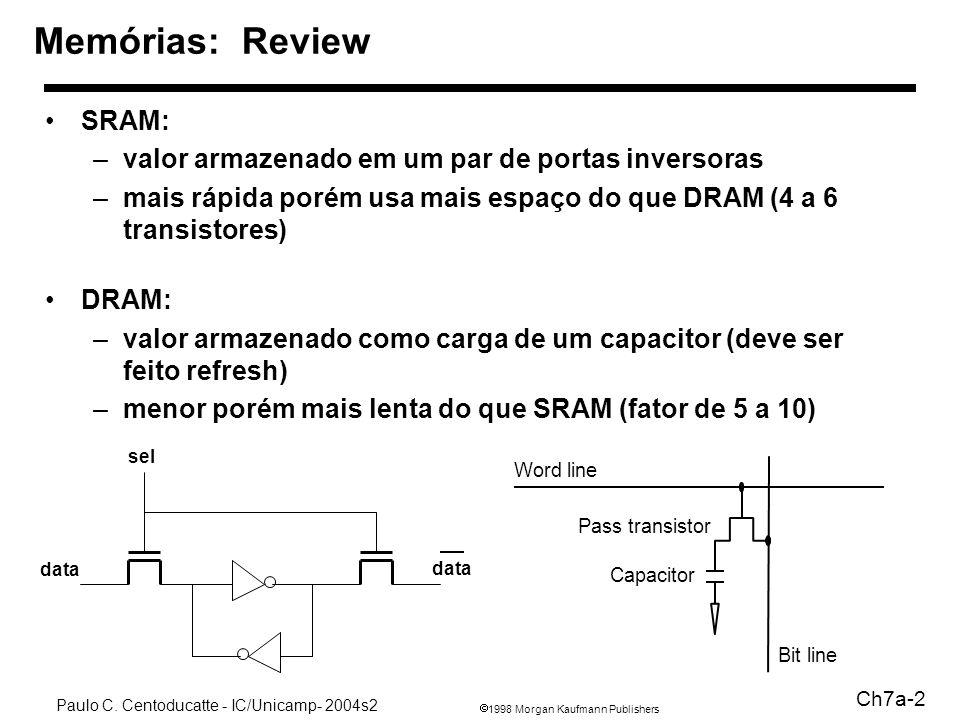 1998 Morgan Kaufmann Publishers Paulo C. Centoducatte - IC/Unicamp- 2004s2 Ch7a-2 SRAM: –valor armazenado em um par de portas inversoras –mais rápida