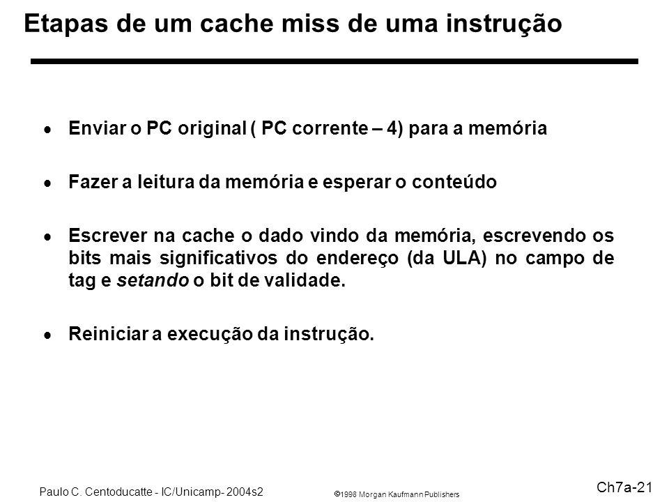 1998 Morgan Kaufmann Publishers Paulo C. Centoducatte - IC/Unicamp- 2004s2 Ch7a-21 Etapas de um cache miss de uma instrução Enviar o PC original ( PC