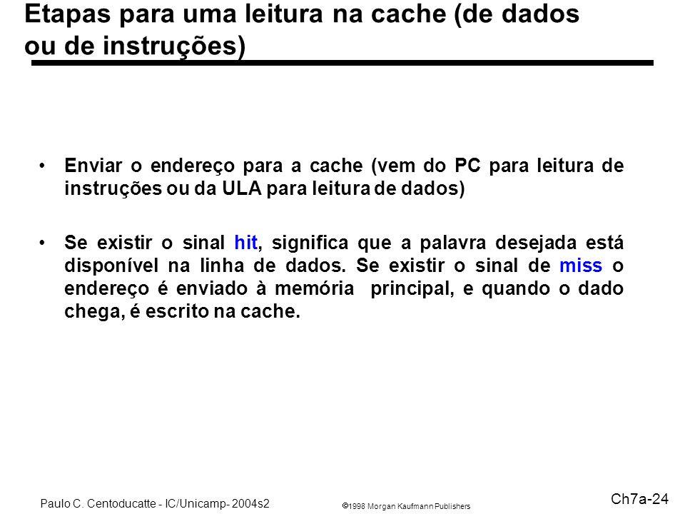 1998 Morgan Kaufmann Publishers Paulo C. Centoducatte - IC/Unicamp- 2004s2 Ch7a-24 Etapas para uma leitura na cache (de dados ou de instruções) Enviar