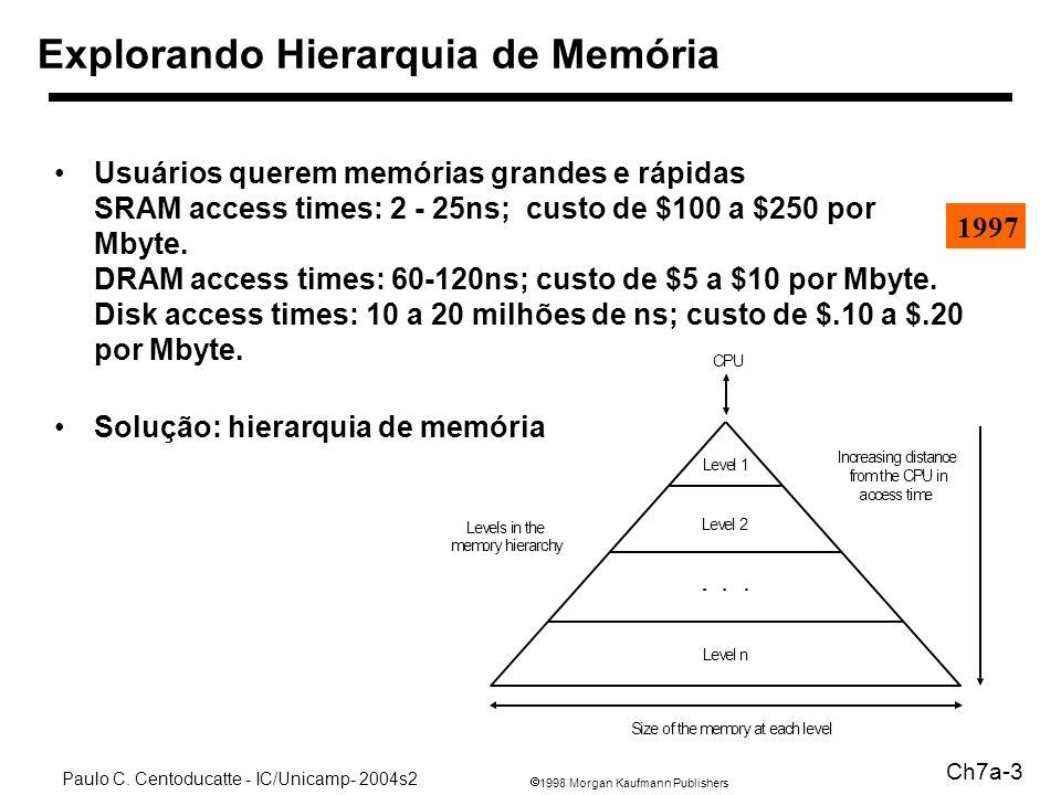 1998 Morgan Kaufmann Publishers Paulo C. Centoducatte - IC/Unicamp- 2004s2 Ch7a-3 Usuários querem memórias grandes e rápidas SRAM access times: 2 - 25