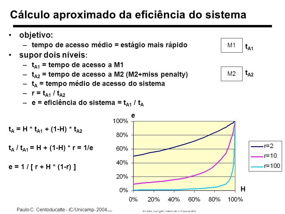 1998 Morgan Kaufmann Publishers Paulo C. Centoducatte - IC/Unicamp- 2004s2 Ch7a-30 Cálculo aproximado da eficiência do sistema objetivo: –tempo de ace