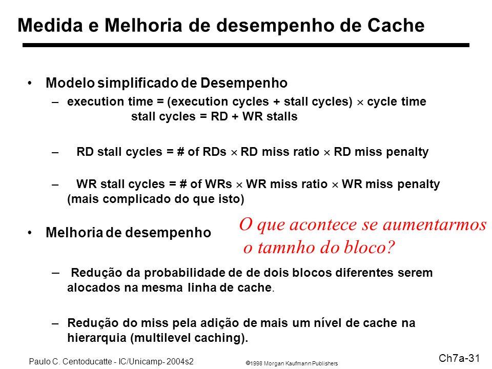 1998 Morgan Kaufmann Publishers Paulo C. Centoducatte - IC/Unicamp- 2004s2 Ch7a-31 Medida e Melhoria de desempenho de Cache Modelo simplificado de Des