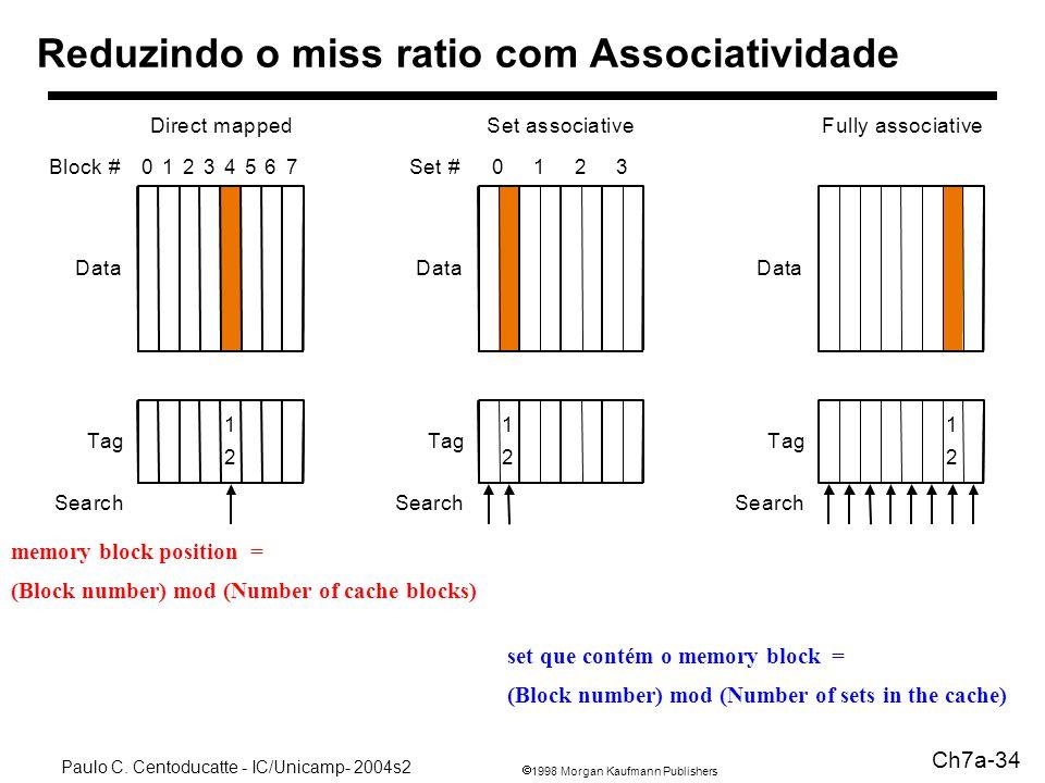 1998 Morgan Kaufmann Publishers Paulo C. Centoducatte - IC/Unicamp- 2004s2 Ch7a-34 Reduzindo o miss ratio com Associatividade 1 2 Tag Data Block #0123