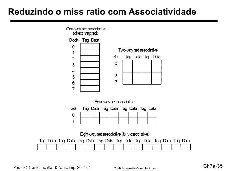 1998 Morgan Kaufmann Publishers Paulo C. Centoducatte - IC/Unicamp- 2004s2 Ch7a-35 Reduzindo o miss ratio com Associatividade