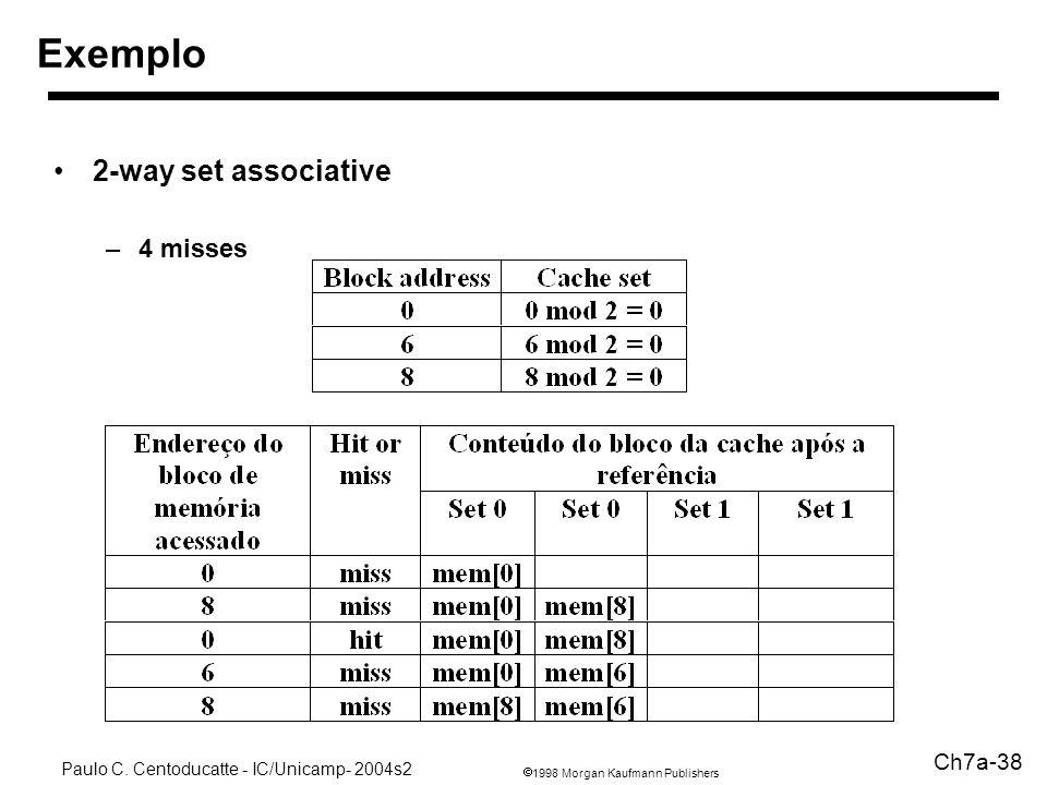 1998 Morgan Kaufmann Publishers Paulo C. Centoducatte - IC/Unicamp- 2004s2 Ch7a-38 Exemplo 2-way set associative –4 misses