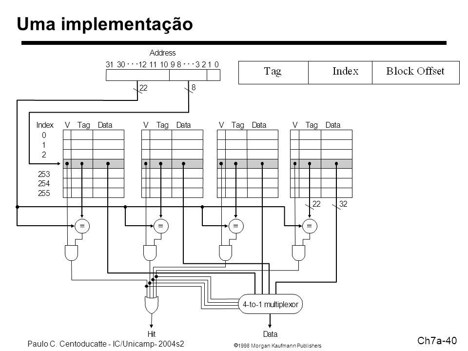1998 Morgan Kaufmann Publishers Paulo C. Centoducatte - IC/Unicamp- 2004s2 Ch7a-40 Uma implementação Address 22 8 VTagIndex 0 1 2 253 254 255 DataVTag
