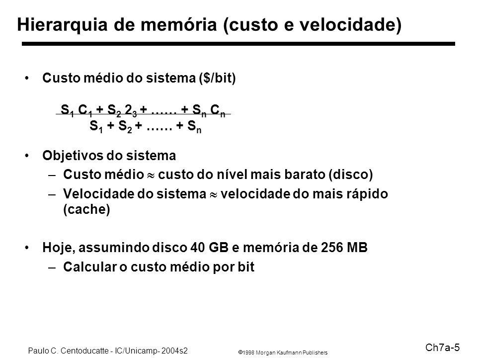 1998 Morgan Kaufmann Publishers Paulo C. Centoducatte - IC/Unicamp- 2004s2 Ch7a-5 Hierarquia de memória (custo e velocidade) Custo médio do sistema ($