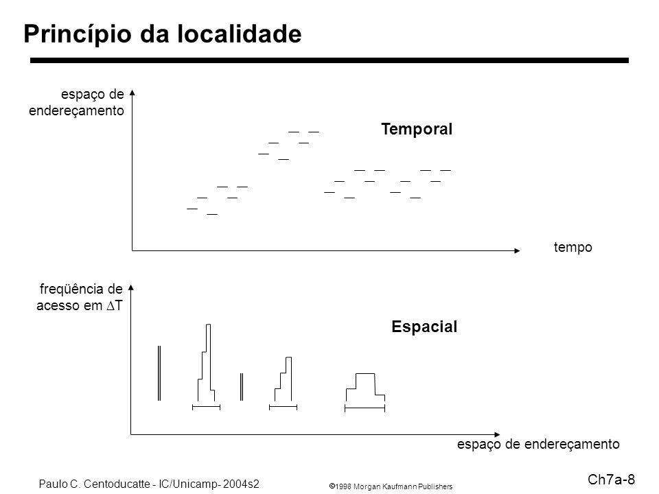 1998 Morgan Kaufmann Publishers Paulo C. Centoducatte - IC/Unicamp- 2004s2 Ch7a-8 Princípio da localidade espaço de endereçamento tempo freqüência de