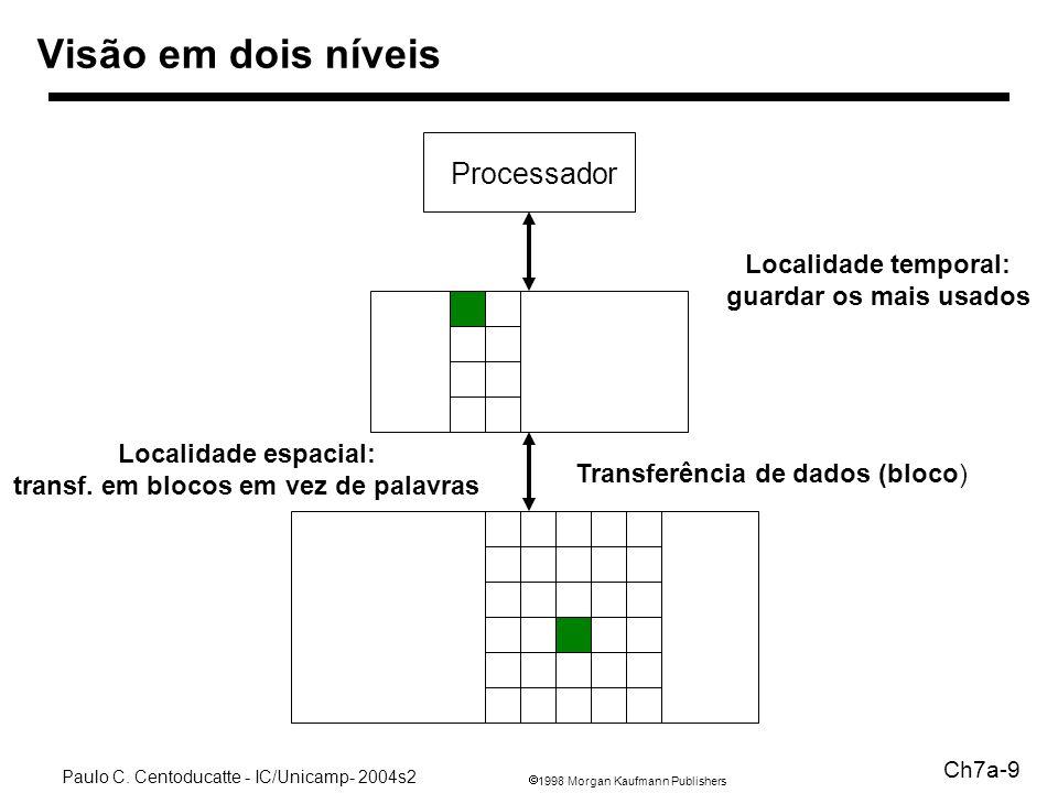 1998 Morgan Kaufmann Publishers Paulo C. Centoducatte - IC/Unicamp- 2004s2 Ch7a-9 Visão em dois níveis Processador Transferência de dados (bloco) Loca
