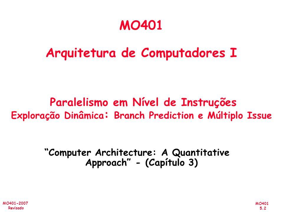 MO401 5.2 MO401-2007 Revisado MO401 Arquitetura de Computadores I Paralelismo em Nível de Instruções Exploração Dinâmica : Branch Prediction e Múltipl