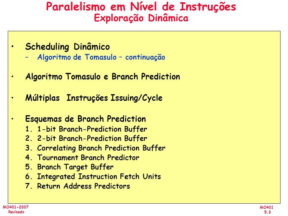 MO401 5.3 MO401-2007 Revisado Paralelismo em Nível de Instruções Exploração Dinâmica Scheduling Dinâmico –Algoritmo de Tomasulo – continuação Algoritm