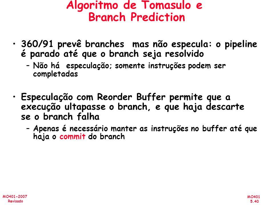 MO401 5.40 MO401-2007 Revisado Algoritmo de Tomasulo e Branch Prediction 360/91 prevê branches mas não especula: o pipeline é parado até que o branch