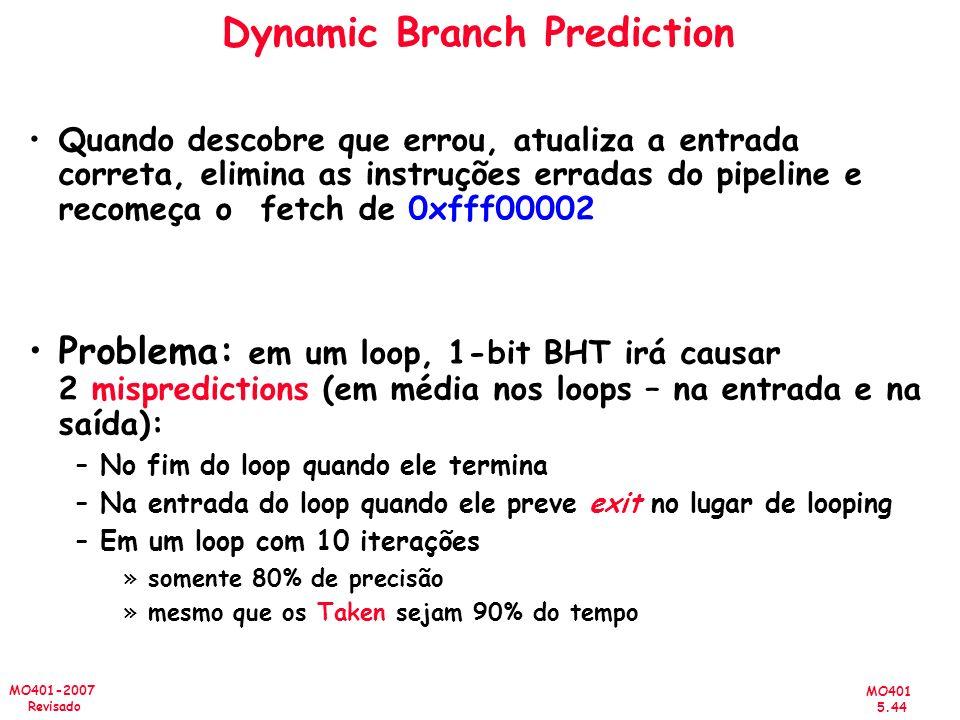 MO401 5.44 MO401-2007 Revisado Dynamic Branch Prediction Quando descobre que errou, atualiza a entrada correta, elimina as instruções erradas do pipel