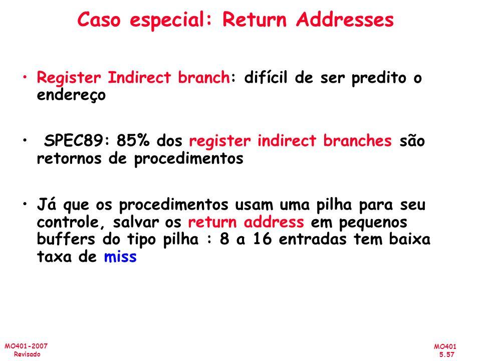 MO401 5.57 MO401-2007 Revisado Caso especial: Return Addresses Register Indirect branch: difícil de ser predito o endereço SPEC89: 85% dos register in