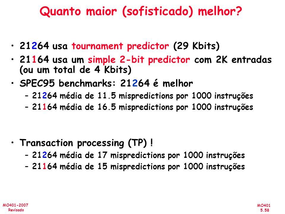MO401 5.58 MO401-2007 Revisado Quanto maior (sofisticado) melhor? 21264 usa tournament predictor (29 Kbits) 21164 usa um simple 2-bit predictor com 2K