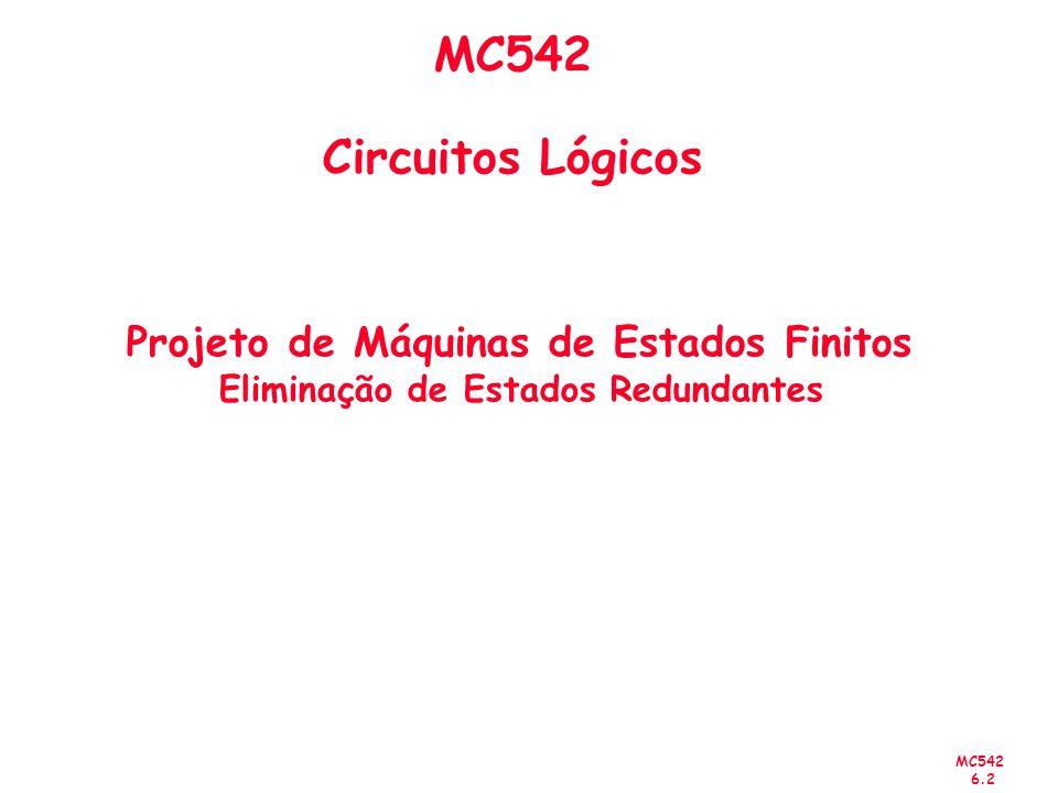 MC542 6.2 MC542 Circuitos Lógicos Projeto de Máquinas de Estados Finitos Eliminação de Estados Redundantes