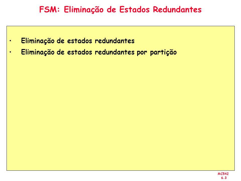 MC542 6.3 FSM: Eliminação de Estados Redundantes Eliminação de estados redundantes Eliminação de estados redundantes por partição