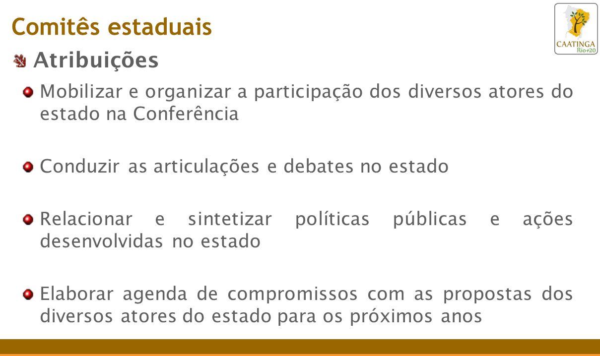 Atribuições Mobilizar e organizar a participação dos diversos atores do estado na Conferência Conduzir as articulações e debates no estado Relacionar