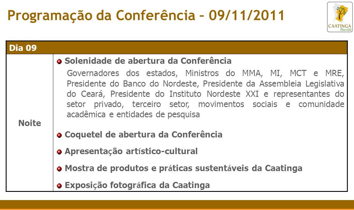 Programação da Conferência – 09/11/2011 Dia 09 Noite Solenidade de abertura da Conferência Governadores dos estados, Ministros do MMA, MI, MCT e MRE,
